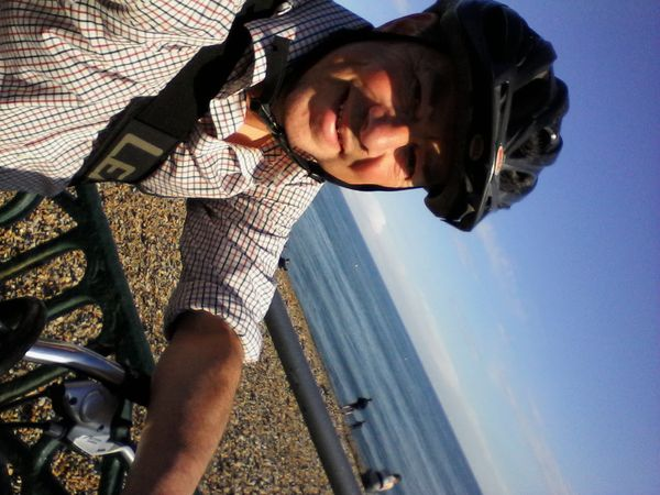 Cycle leg home along the seafront